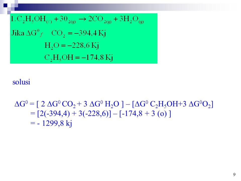 G0 = [ 2 G0 CO2 + 3 G0 H2O ] – [G0 C2H5OH+3 G0O2]